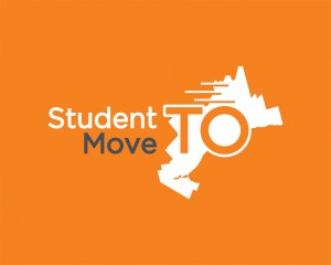 Orange background with white, black and orange text, and a white province of Ontario shape