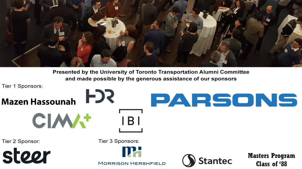 reception crowd, sponsor logos