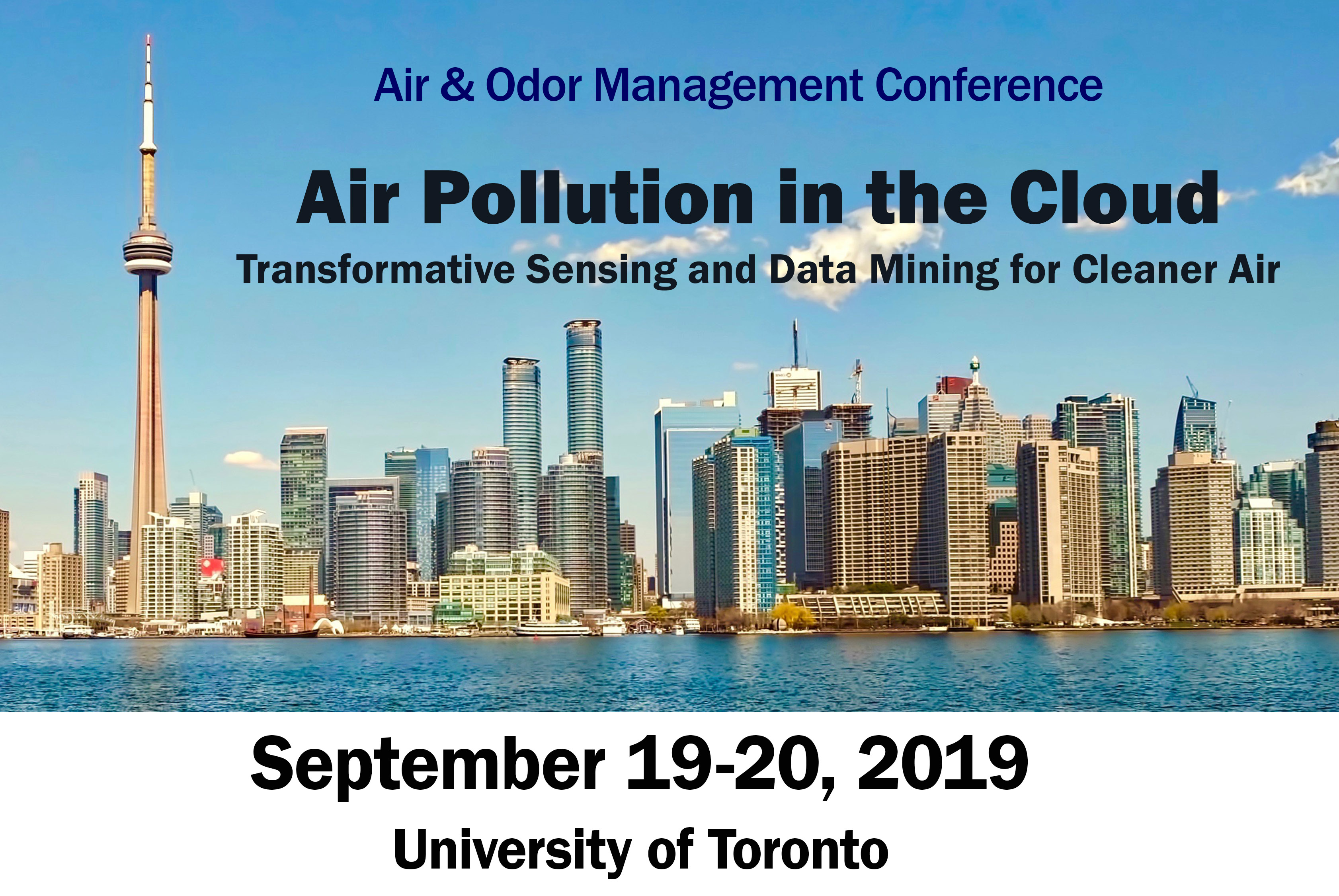 Conference information against photo of Toronto skyline