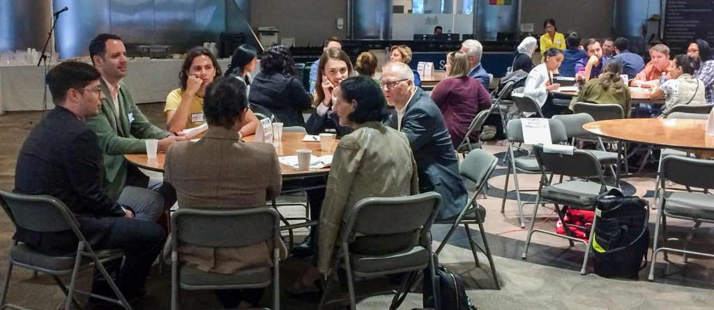 several tables of discussion groups