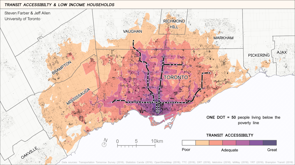 Coloured map of Greater Toronto Area