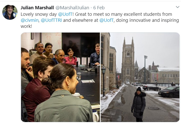 Tweet from Julian Marshall of his visit to Toronto