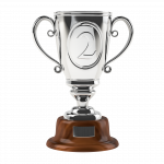 silver trophy with number 2