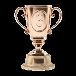 bronze trophy with number 3