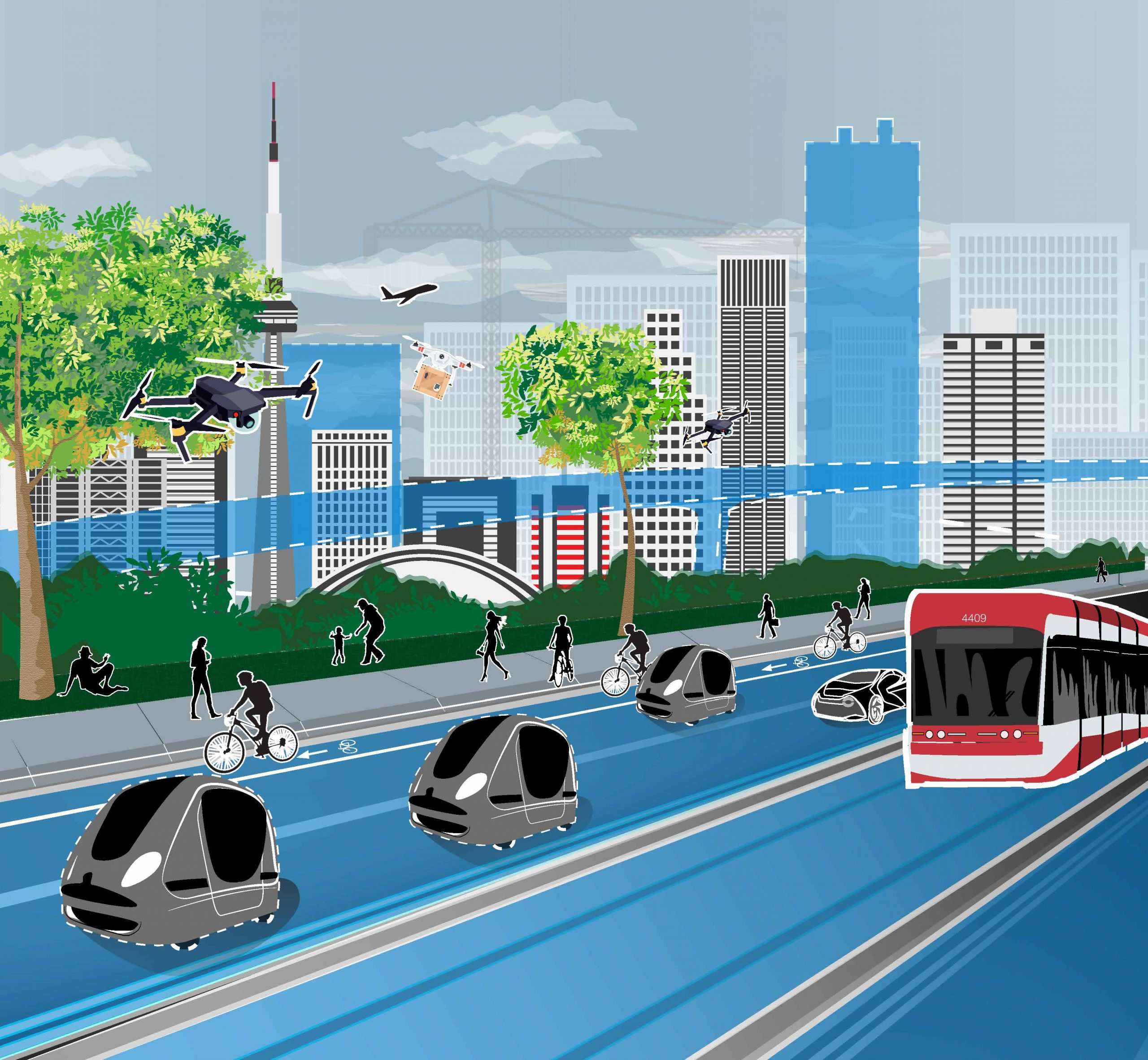 CATTS graphic of roadway in front of Toronto skyline